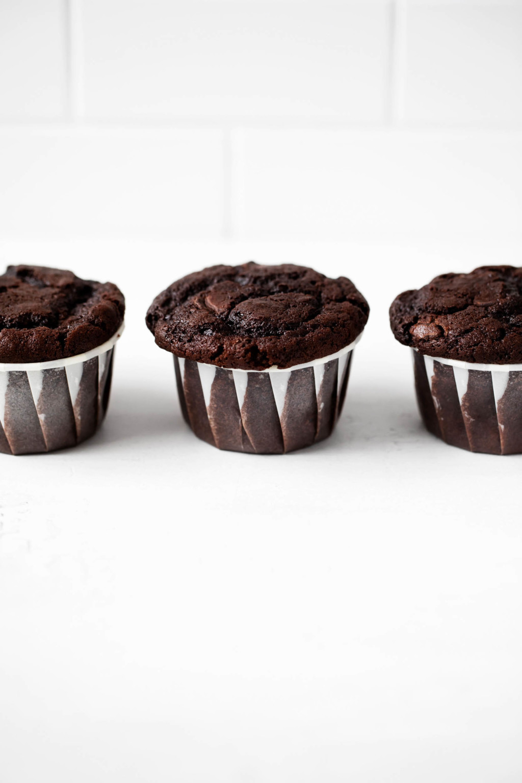 Vegan baked goods with chocolate chips are lined up against a bright, white background.