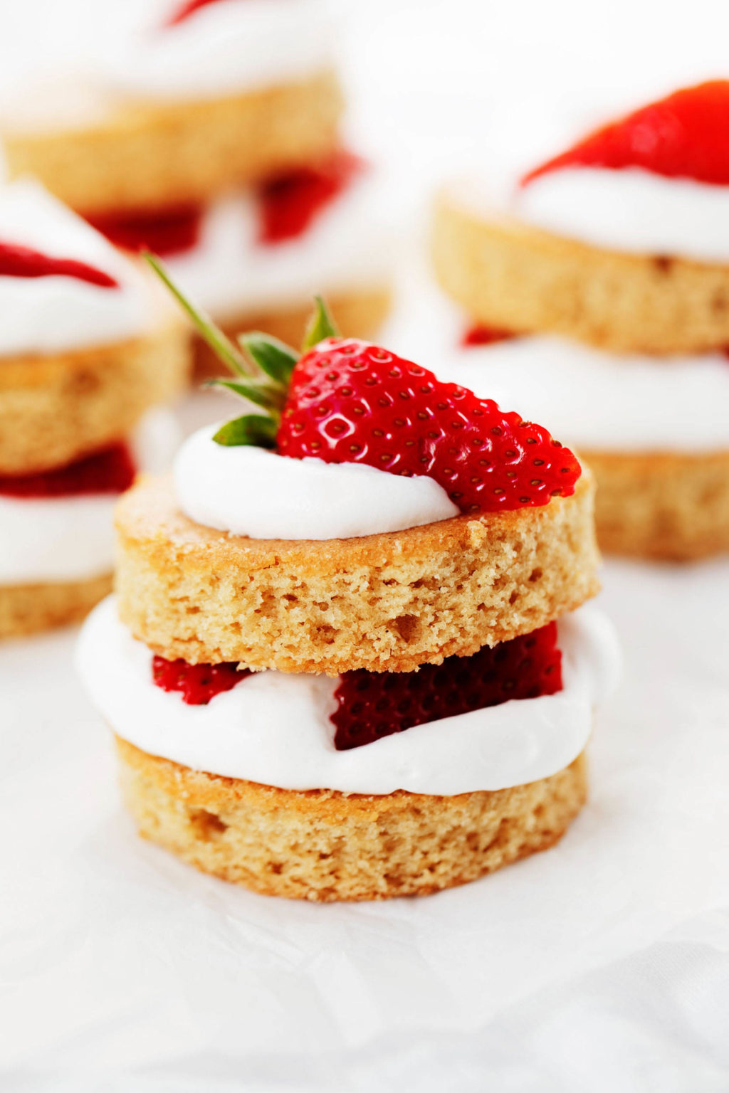 Two layers of vegan vanilla cake have been turned into strawberry shortcake, decorated with whipped cream and quartered strawberries.