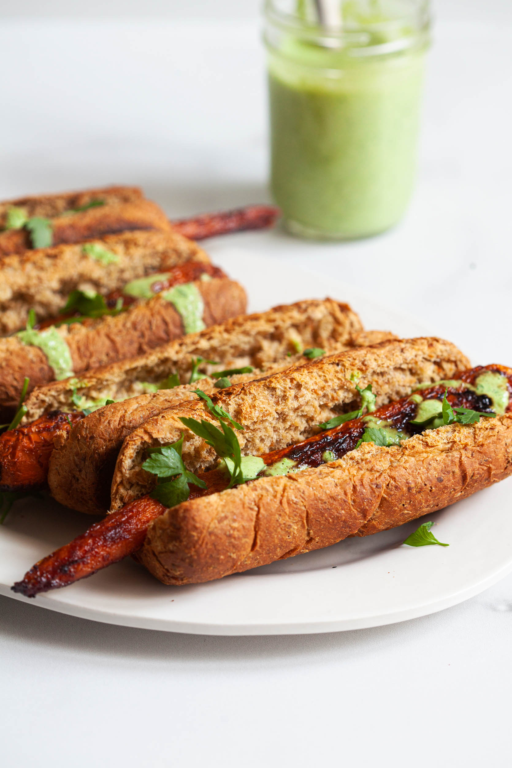 Sweet & Smoky Glazed Carrot Dogs | The Full Helping