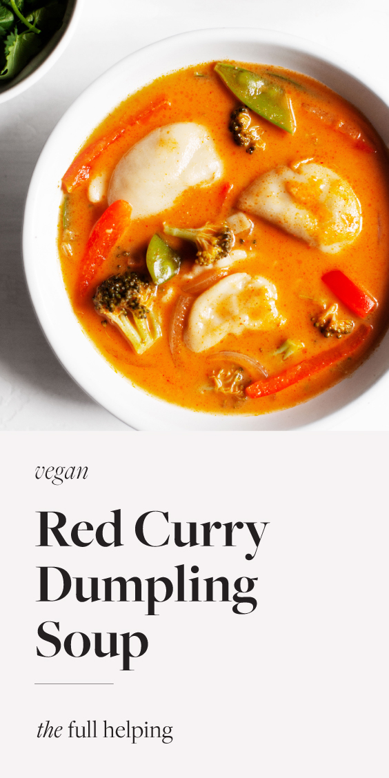 This red curry dumpling soup is so tasty and quick!  Made with fully #vegan, ready-to-eat dumplings, it comes together in about 20 minutes.  # vegetarian # vegetarian