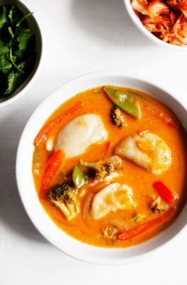 Red Curry Dumpling Soup with Kimchi