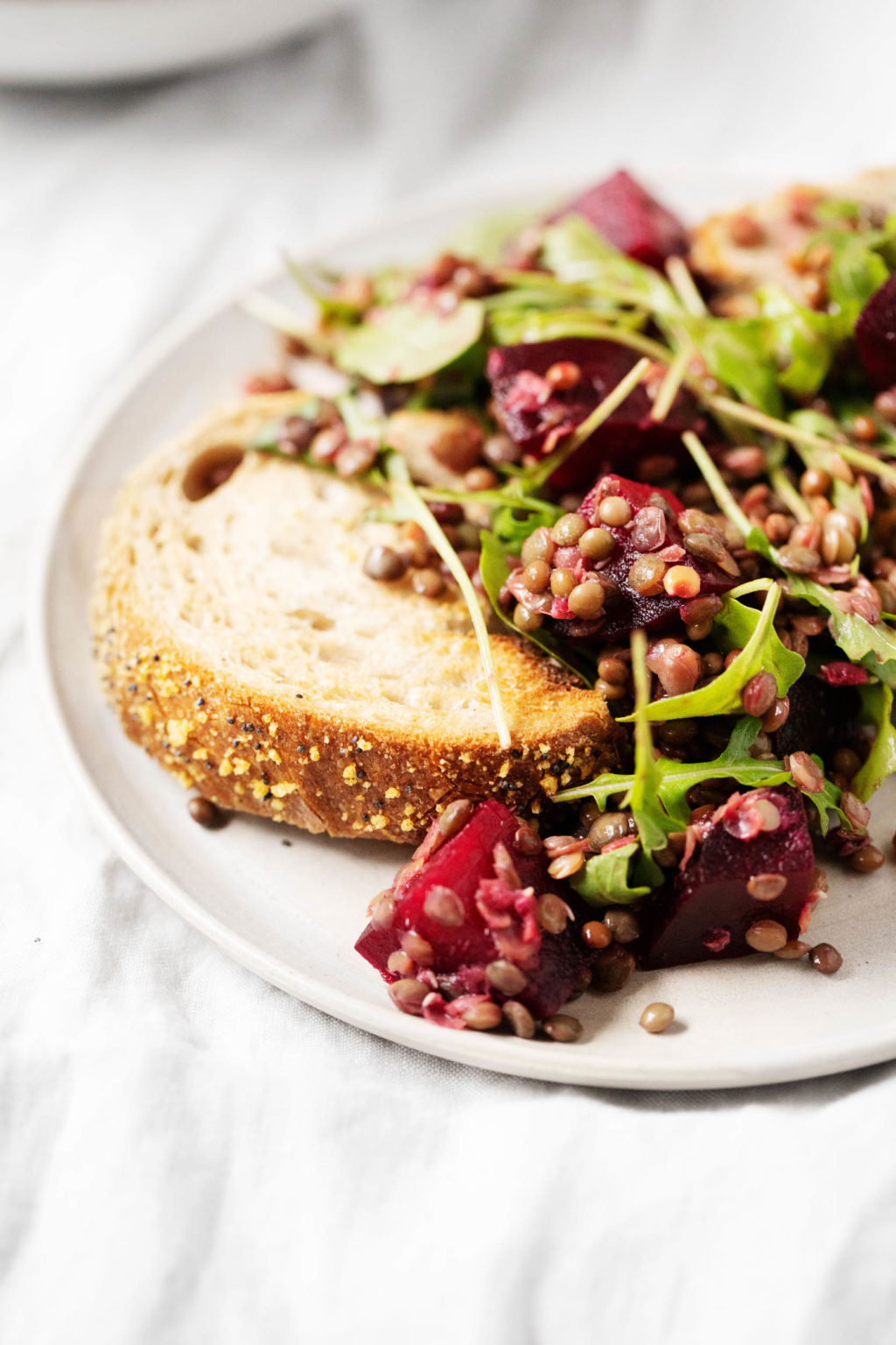 A zoomed in image of a slice of seeded bread, which has been piled with the leftovers of a lentil beet salad.