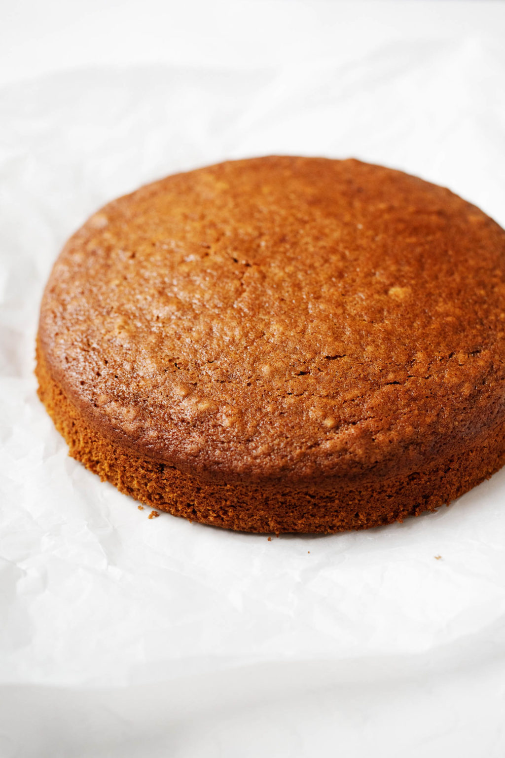 A golden brown, neat, simple vegan cake for the holidays.